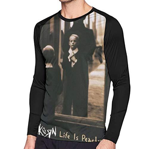 RobinEllis Korn Life is Peachy Cotton Mens T Shirt Long Sleeve Contrast Color Mans Blouse Black XXL