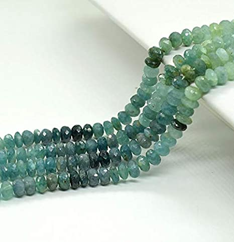 Natural Gem  17 Inches Super Finest Quality -AAA-Green  Color  Apatite Rondelle Faceted  Big Beads  Necklace  4 TO 7 MM