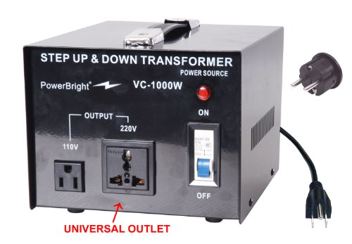 Power Bright VC1000W Voltage Transformer 1000 Watt Step Up/Down converter 110/120 Volt - 220/240 Volt
