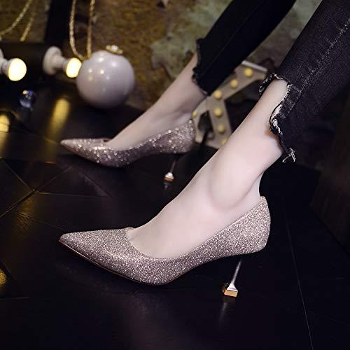 Aguja Tacones De de con Hebilla Femenino Otoño Negro De De zapatos Baotou Salvaje Sandalias A Yukun 35 alto Altos tacón Marea wqfa7WxZ