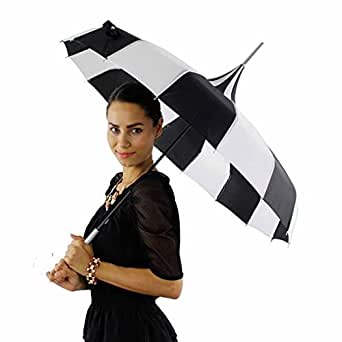 Parisian Pagoda Parasol Umbrella, Black and White