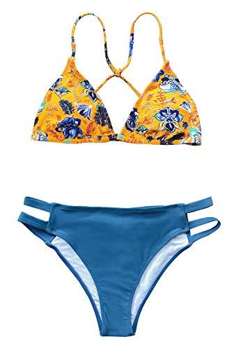 (CUPSHE Women's Navy Yellow Floral Print Triangle Strapy Bikini Set, XL)