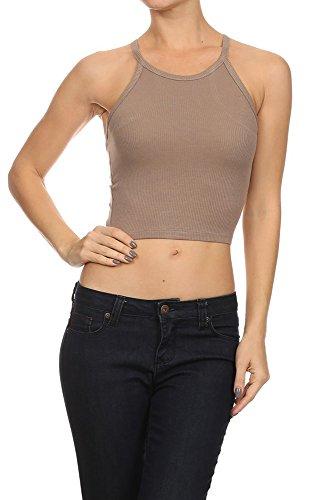 Khaki Tan Crop (TheLovely Sexy Ribbed Knit Racerback Stretchy Sleeveless Crop Tank Top (Large, Khaki))