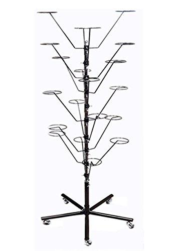 Blk Black Floor Fixtures - 10 Layers Revolving Hat Floor Rack Hanger Retail Store Display Clothes Hang-BLK