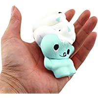 Stress Reliever Toys MOKAO Squishy Ice Cream Doll Bread Phone Straps Slow Rising Bun Charms Gifts Toys (blue)