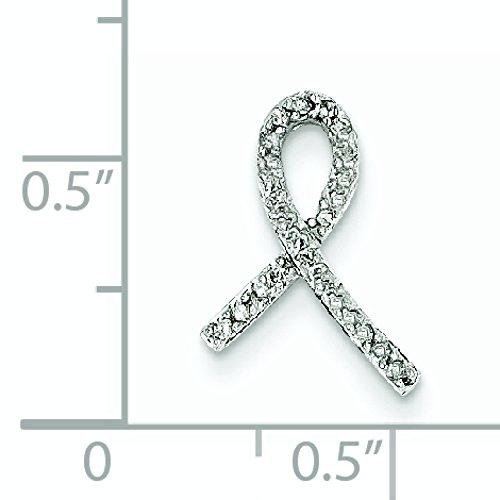 Or blanc 14 carats serti de diamants bruts de lutte contre le Cancer du sein-JewelryWeb Slide