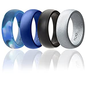 Silicone Wedding Ring For Men By ROQ Affordable Silicone Rubber Band, 4 Pack - Arctic Camo, Metallic Look Silver, Black, Blue - Size 7