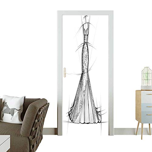 Homesonne Decorative Door Decal Woman Night Dr Stylish Model Wedding Outfit Sketch Print Grey White Stick The Picture on The doorW36 x H79 INCH ()