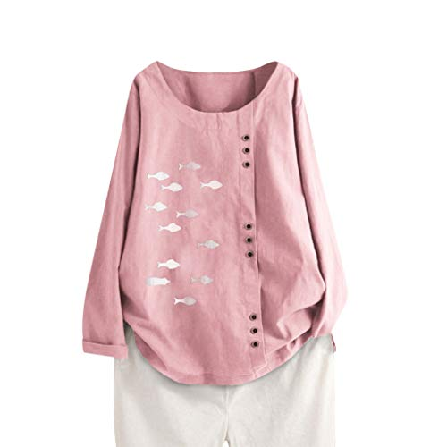 M☂Rktkr Women's Loose Fish Print Shirt, Autumn Fashion Long-Sleeved Cotton Linen top M-5XL Pink