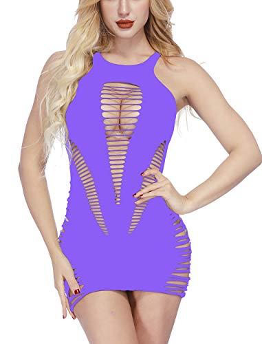 Vorifun Womens Babydoll Hollow Fishnet Lingerie Hot Mini Dress Tube Chemise Bodysuit (Light Purple)