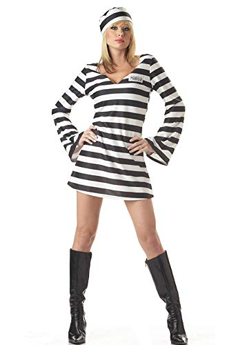 Tutu Dreams Adult Jail Prisoner Zombie Costumes DIY Men Woman (Medium, Women-Stripe)