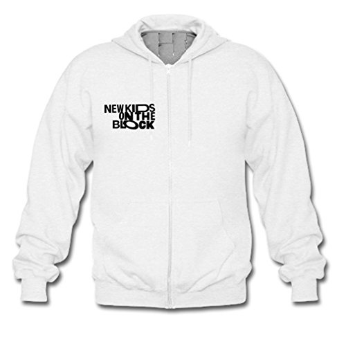 GOOGSDDIY Mens New Kids On The Block Funny Quote Zippered Hoodies Medium White