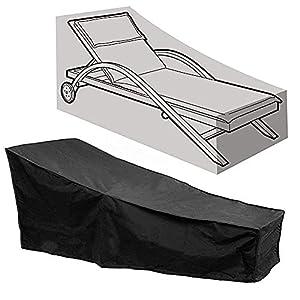Funda Impermeable para Tumbona de Jardín o Patio al Aire Libre, Resistente al Viento Anti UV Ratán para Muebles de Jardín (210x75x40/80cm)