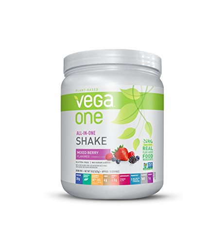 Vega One All-In-One Nutritional Shake Mixed Berry (0.94 lb, 10 Servings) - Plant Based Vegan Protein Powder, Non Dairy, Gluten Free, Non GMO