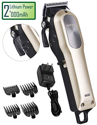 Hair Clippers for Men Professional, Kebor Electric Cordless Built-in Huge 2000mAh Barber Haircutting Set with Taper Lever, Rechargeable Lithium ion Battery, Powerful Motor, Detachable Cord – 2018 Gold