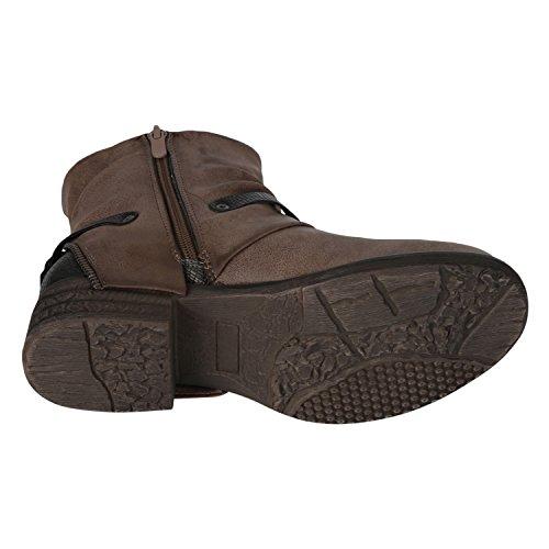 napoli-fashion Damen Biker Boots Stiefeletten Prints Profil Sohle Block Absatz Khaki Cachi