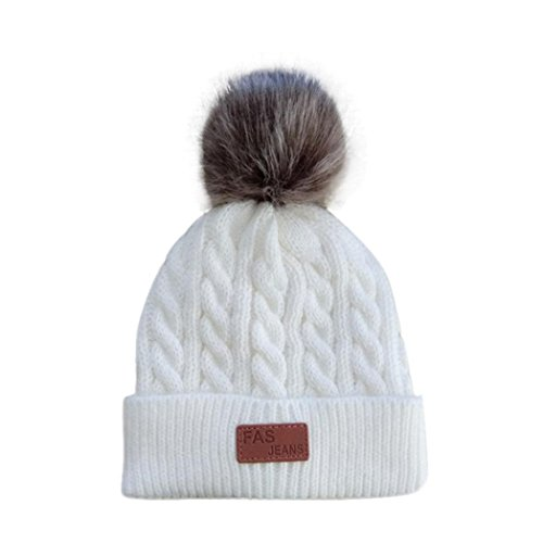 - Dumanfs Winter 3-12 Years Old Girl Solid Hat, Flexible Knitted Cotton Cap (White)