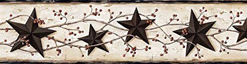 Chesapeake BBC65365B George Tin Star Trail Wallpaper Border, Black by -