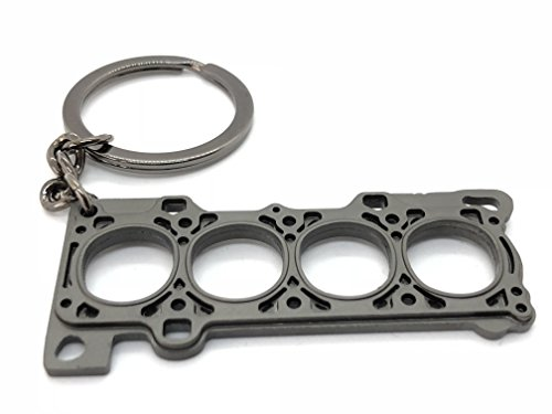 GT//Rotors Gunmetal Head Gasket Keychain Automotive Part Car Gift Key Chain Ring