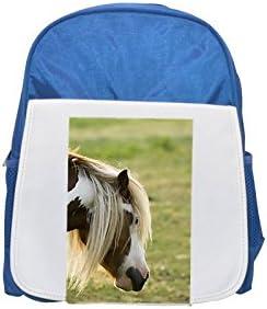 Close Up Perfil de un Irish Cob, caballo, Sweden. impreso Kid 's azul mochila, para mochilas, cute small Mochilas, cute negro mochila, Cool mochila negra, moda mochilas, Gran moda mochilas,