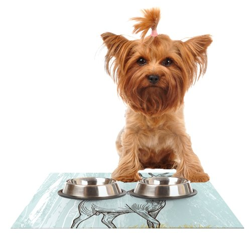 Kess InHouse Sam Posnick Elk Scene  Feeding Mat for Pet Bowl, 18 by 13-Inch