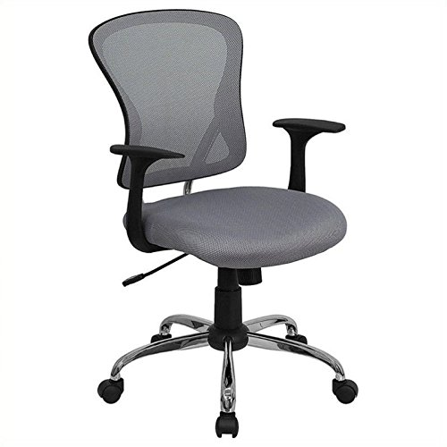 Flash Furniture Mid-Back Gray Mesh Swivel Task Chair with Chrome Base and Arms by Flash Furniture
