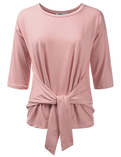 Doublju Womens 3/4 Sleeve Loose Fit Tie-Front Blouse Top with Plus Size (Made in USA) ANTIQUEMAUVE XL