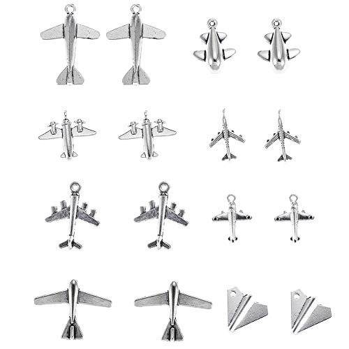 93g Mixed Style Antique Silver Plane Charms Airplane Charm Pendant Bracelets Necklace Jewelry Findings Jewelry Making Craft DIY (a-1082)