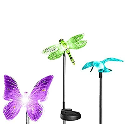 OxyLED OxyFlor Solar Powered Outdoor Hummingbird, Butterfly & Dragonfly Solar Garden Stake Light, Chameleon Multi-color Changing LED Light,3 pack