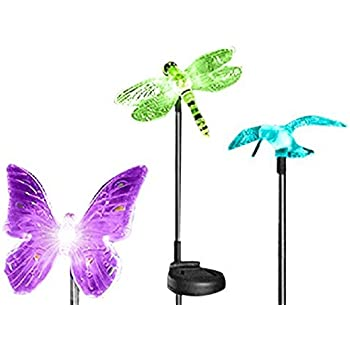 Amazon Com Solar Powered Glass Crackle Stake Color