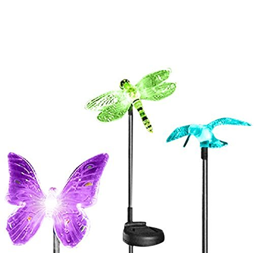 OxyLED OxyFlor GL-01 Solar Powered Outdoor Hummingbird, Butterfly & Dragonfly Solar Garden Stake Light, Chameleon Multi-color Changing LED Light,3 pack