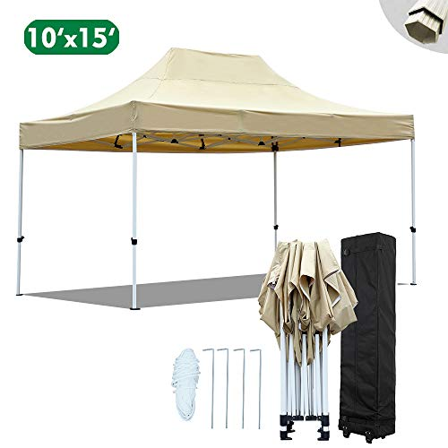 kdgarden 10×15 Ft. Premium Easy Pop up Canopy Commercial Instant Shelter Outdoor Party Canopy with Wheeled Carry Bag, Heavy Duty Strong Hexagon Steel Frame with Waterproof 420 Top, Khaki