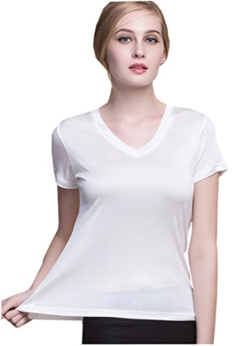 METWAY Women's Short Sleeve Mulberry Silk V-Neck T-Shirt Large White