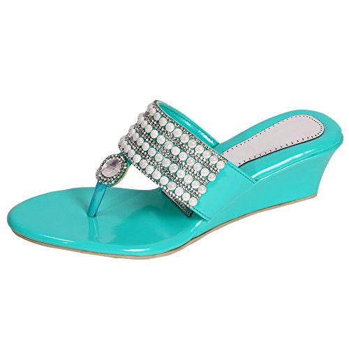 Stunner Fashion Womens Turquoise Pearl Synthetic Wedge Sandal-UK10