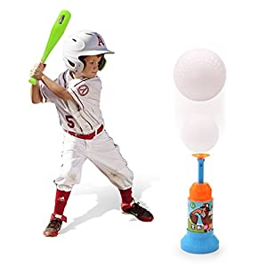 EXERCISE N PLAY Training Automatic LauncherBaseball Bat Toys - Indoor Outdoor Sports Baseball Games T-Ball Set for Children