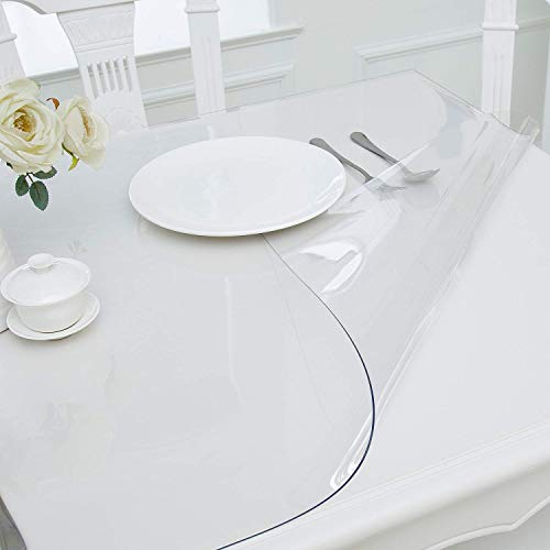 Hewaba Home Rectangle PVC Table Protector - 30 x 60 Inches, 1.5mm Thick Custom Clear Waterproof Plastic Tablecloth, Kitchen Dining Room Wooden Furniture Protective Cover