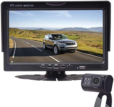 LeeKooLuu HD 720P Backup Camera and 7 Monitor Easy Installation Parking Driving Observation System for Cars,SUVs,Pickups,Trucks,Motorhomes,Bus,Vans Rear Front View IP69 Waterproof Super Night Vision