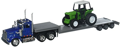 (NewRay 1:43 Kenworth W900 with Farm Tractor Diecast Vehicle)