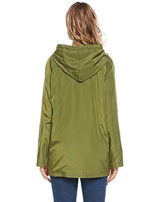 ELESOL Women Hooded Windbreaker Outdoor Lightweight Rain Jacket with Pockets