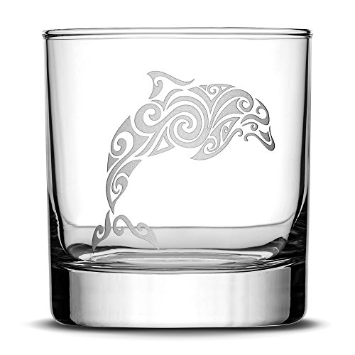 Premium Dolphin Whiskey Glass, Hand Etched Tribal Design, 10oz Rocks Glass, Highball Gifts, Made in USA, Sand Carved by Integrity Bottles