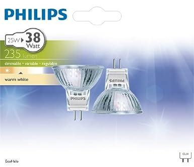 38W Philips Lot de 2 Ampoules EcoHalog/ène Culot GU4 25 Watts consomm/és Equivalence incandescence