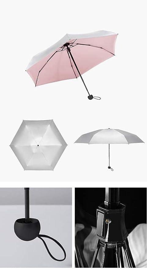 LWLGXF Parapluie 50 pli Parasol Titane Argent en Plastique De Protection Solaire Anti-UV Pliant Ultra L/éger De Petite Poche Parapluie Mini Mini Parapluie Double Usage