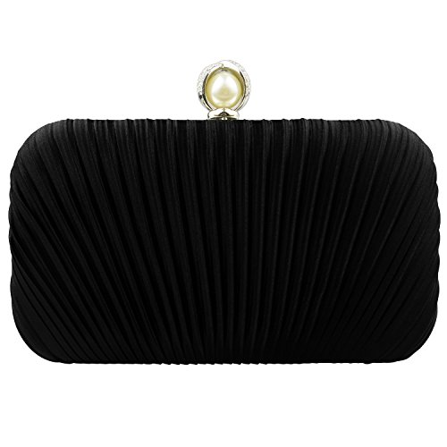 n Evening Clutch Bags Wedding Purse Bridal Prom Handbag Cocktail Party Bag for for Ladies Girls (Black-1) ()