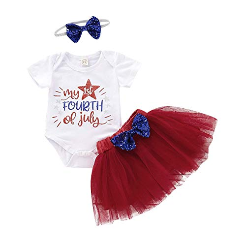 My 1st 4th of July Baby Girl Outfit Rompers +Tutu Skirt+Headband Clothes Set (Red, 12-18 Months)]()