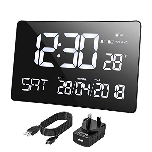 Mpow Large Digital Clock, 11'' Large Curved-Screen, Digital Alarm Clock...