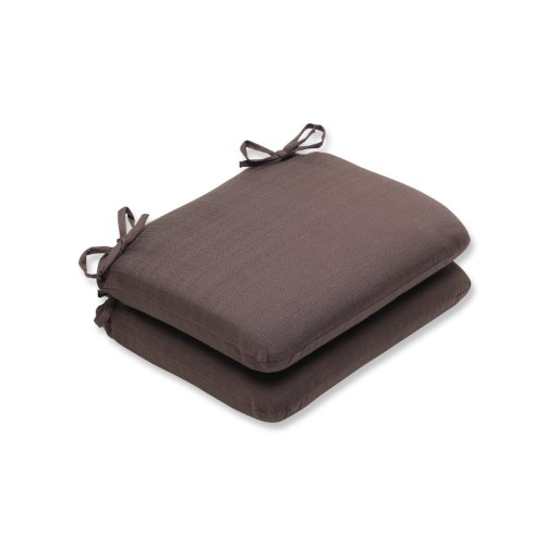 Pillow Perfect Outdoor Forsyth Chocolate Rounded Corners Seat Cushion, Set of 2