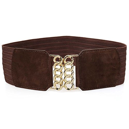 BMC Womens Gold Colored Ring Buckle Wide Elastic Fashion Accessory Belt - BROWN - Ring Cinch Belt