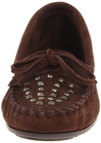 Damen Double Schokoladenbraun Minnetonka Mokassins Studded 362 Moc wHUUaqI
