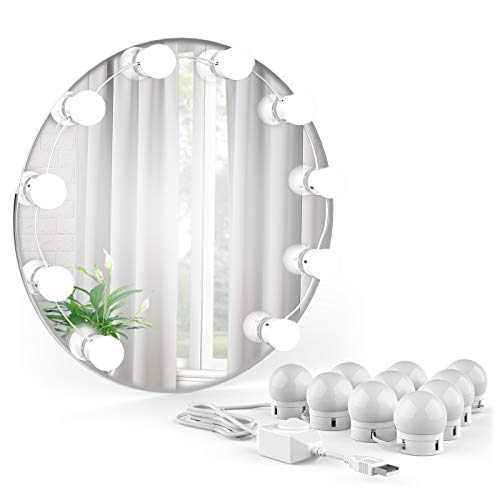 Onforu Vanity Mirror Lights Kit USB Powered, 6000K Daylight White Hollywood Style Lighting Fixture Strip with 10 Dimmable Bulbs, LED Makeup Mirror Lights Kit for Vanity Table Set, Bathroom, Dressing