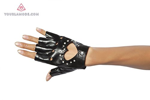 Roma Costume Glove with Heart and Stones Bundle with Pink (Black Glove With Heart And Stones)